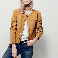 Free People Womens Collarless Saddle Stitch Suede Jacket