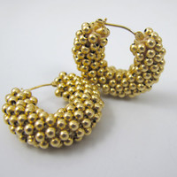 Vintage 585 14K Gold Hoop Earrings Chunky Woven Wide Yellow Gold Bead Cluster