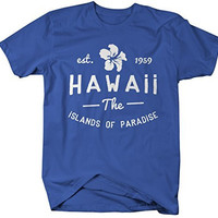 Shirts By Sarah Men's Hawaii State Shirt The Islands Of Paradise T-Shirt Est. 1959