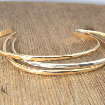 3 Simple Cuffs 14k Gold Fill, Sterling Silver, 14k Rose Gold Fill Hammered Cuff Bracelet, Stacking Cuffs