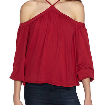 love, Fire Cold Shoulder Halter Jersey Top