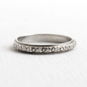 Antique Art Deco Sterling Silver Orange Blossom Ring- Size 5 1/4 Flower Milgrain Eternity Wedding Band Uncas Jewelry