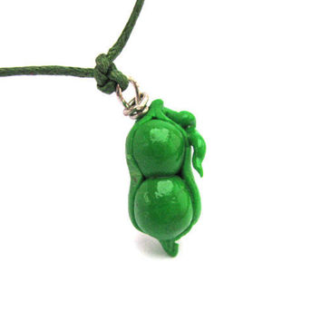 Polymer clay charm necklace peas in a pod charm by Mandyscharms