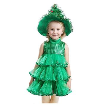 FBIL-Baby Girl Sleeveless Dresses Children Green Clothes Christmas Halloween Costumes Christmas Tree Dress and Witch Hat