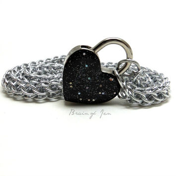 Locking Slave Collar Silver Aluminum with Sparkly Black Heart Shaped Padlock