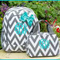 HEAVY DUTY Gray Chevron Personalized Lunchbox, Monogrammed Girls Zig Zag Striped Lunchbag, Grey and White personalized kids school