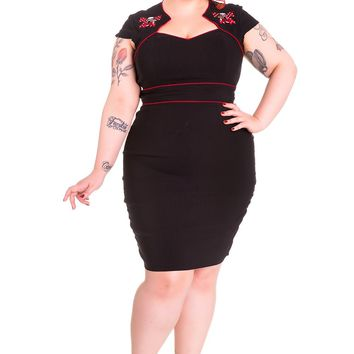 Rockbilly Pinup Skull & Cherry with Red Bow Wiggle Pencil Dress