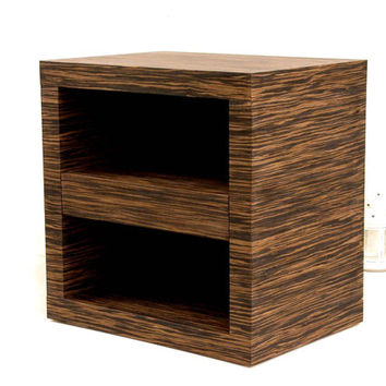 Modern Ebony Quartered Nightstand with Drawer Night Stand Bedroom Table Bedside Table Night Table Bed Stand Modern Nightstand