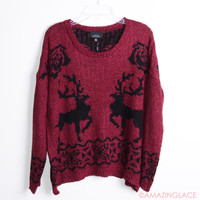 Reindeer Tracks Burgundy Winter Sweater