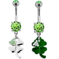 Shamrock Belly Ring-SILVER;Sold individually
