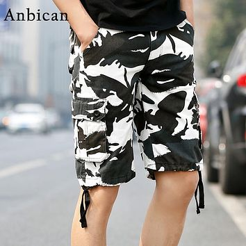 Anbican Fashion Camo Tactical Cargo Shorts Men Hot Sale 2017 Summer Multi-Pockets Big Size Mens Military Shorts Black and White