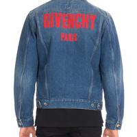 Givenchy Logo-Print Denim Trucker Jacket, Blue