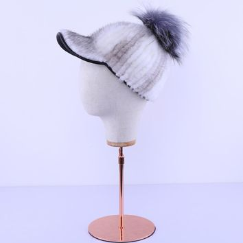 Luxury New 2017 Genuine Real Mink Fur Striped Silver Fox Fur Pom Poms Baseball Caps Winter Bomber Fur Hats Earmuffs Cap