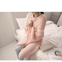 Pink Chunky Knit Fall Fashion Sweater