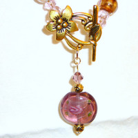 Pink Glass Flower Necklace with Front Floral Clasp and Drop Glass Bead. Plum. Mauve. Purple. Gold. Flower Jewelry. Front Clasp. Jewelry Sale