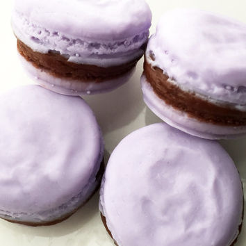 Chocolate Lavender Macaron Soaps - French Macaron Soaps - French Macaroon Soaps