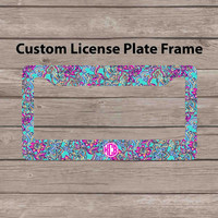 Custom Monogram License Plate Frame - Lilly Pulitzer Inspired Car Tag Frame - Personalized License Plate