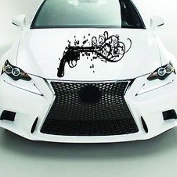 Car Hood Vinyl Decal Graphics Stickers Weapon Gun Revolver AB1461