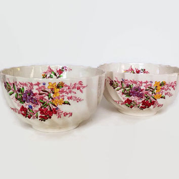 Vintage Spode China- Cranberry-Rice Bowls-Set of 2-Ferry Dell Pattern-Made in England-Multicolor Floral Sprays-Swirl Rim-Replacement China