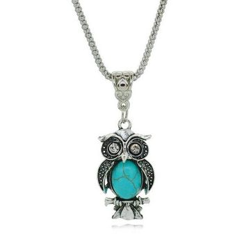 Beautiful Owl Turquoise & Silver Pendant Necklace