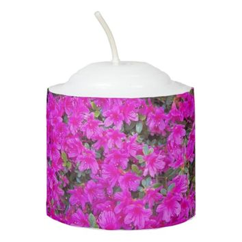 Pink Rhododendrons Floral Photo Votive Candle