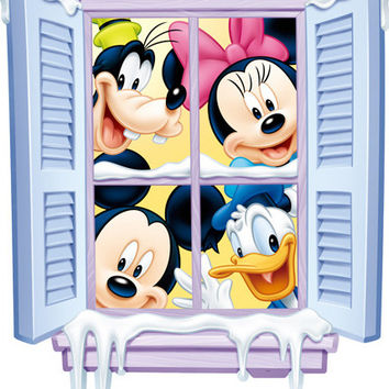 PVC Cartoon Mickey Mouse Wall Sticker Home Decoration for Kids Rooms Minnie Mouse Wall Decal Donald Duck Poster Art Wallpapaer