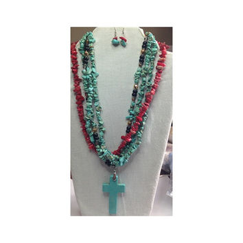 Four Nugget Strand Necklace with three Turquoise Nuggets and One Coral Nugget Necklace with multi stone accents and Turquoise Cross Pendant