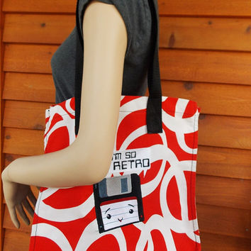I'm So retro Embroidered Tote with funky print ikea fabric