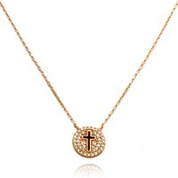 "TIONEER® 14K Rose Gold Plated Small Cross CZ Covered Medallion Sterling Silver Necklace with 16""+2"" Chain"