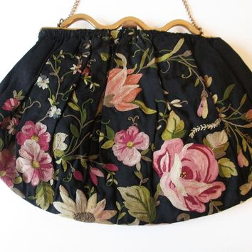 Tambour Embroidery Floral Purse Vintage 1930s Black Roses Wildflowers Gold Metal Frame Chain Handle