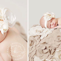 The Sweet Ivory Headband- Ivory, Shabby Flowers, Satin Flowers, Newborn, Infant, Toddler,  Photo Prop, Belt, Wedding, Baby Girl
