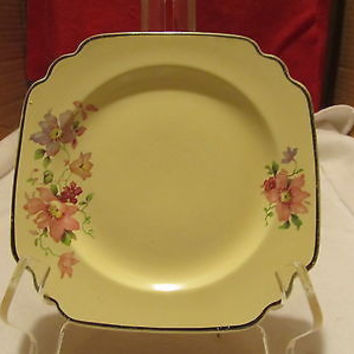 VINTAGE HOME LAUGHTER CAKE PLATES # L-33NP YELLOW WITH FLORAL DESIGN
