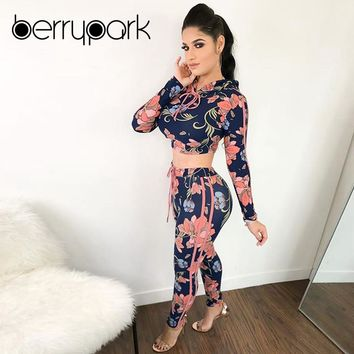 BerryPark 2019 Women Floral Print Striped Hooded Crop Top + Pants 2 Two Piece Set Tracksuit Sport Suit Running Outdoor in Winter