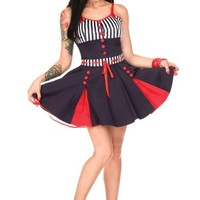 Nautical Navy And Stripes Flair Dress