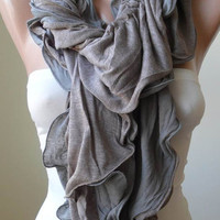 Christmas Gift - New Scarf - Ruffle Scarf - Combed Cotton Scarf