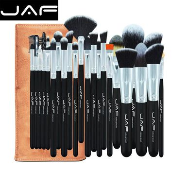 24 pcs Sof Taklon hair makeup brush set High Quality Professional Makeup Brushes Synthetic kabuki brush With Leather Pouch