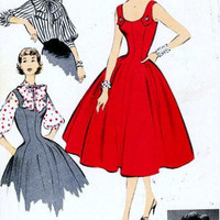 "1950s Misses Princess Jumper and Blouse Vintage Sewing Pattern, American Designer Pattern Advance 6923 bust 32"" uncut"