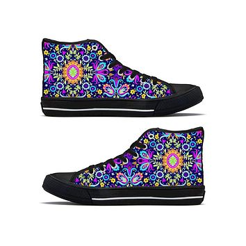 Floral Trip - High Top Canvas Shoes