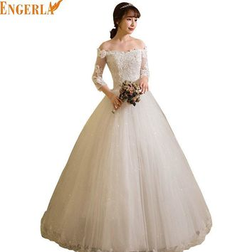 Wedding Dress Hot 2017 Three Quarter Sleeve Classic Lace Embroidery Elegant Boat Neck Floor-length Princess Noble Wedding Gowns