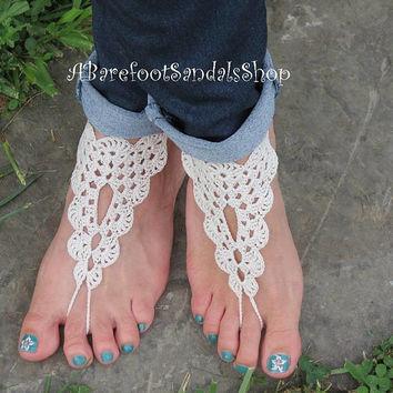 GRANNY SQUARE Barefoot Sandals Shoes Best Images Design Beautiful Colorful Open Lace Pattern Wedding Ssandal for the Beach Setof2