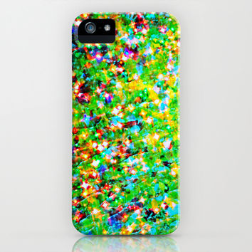 HOLIDAY CHEER - Bold Christmas Festive Green Red Yellow Sparkle Stars Glitter Bling Abstract Art iPhone & iPod Case by EbiEmporium