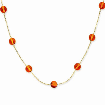 14K Yellow Gold Amber Bead Necklace