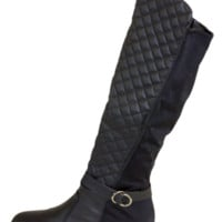 Black Quilted Over The Knee Boots With Elastic Paneling