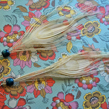 Albino Peacock Feather Earrings