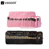 VANDER Pink Soft 32pcs Professional Cosmetics Eyebrow Shadow Lipstick Makeup Brush Kabuki Pinceaux Set Tools Kit + 1x Free Case