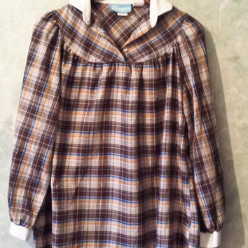 Vintage 70s 80s Maternity Blouse From Sears, Boho Plaid Shirt, Lightweight Maternity Shirt