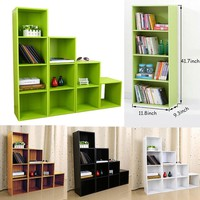 4 Colors 3/4 Shelf Bookcase Adjustable Bookshelf Furniture Home Office Shelves Book Case