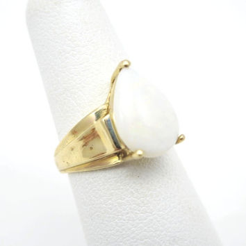 Vintage Opal Ring - 10k Gold - Simple White Opal Engagement Ring Teardrop Pear Cut