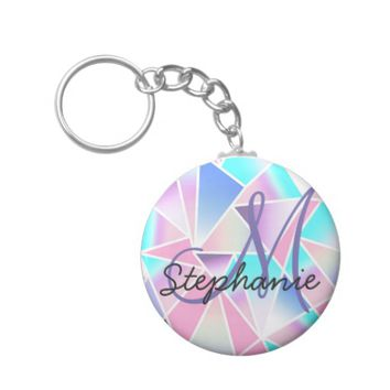 Girly Gradient Geometric Triangles Monogram Keychain