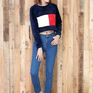 Women Red White Loose Sports Hoodies High Waisted Long Sleeve Round Necked Crop Top _ 13520